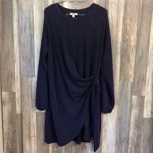 KORI America Purple Faux Wrap Dress L